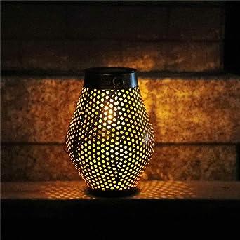 Farol solar de exterior, lámpara de jardín de LED de luz solar impermeable, lámpara de energía solar decorativa, lámparas de suspensión para patio exterior interior Festival Navidad: Amazon.es: Iluminación