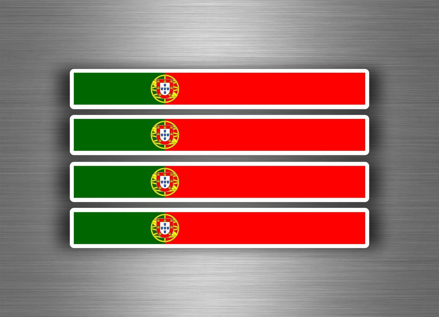 4x Autocollant sticker voiture moto stripes drapeau tuning portugal