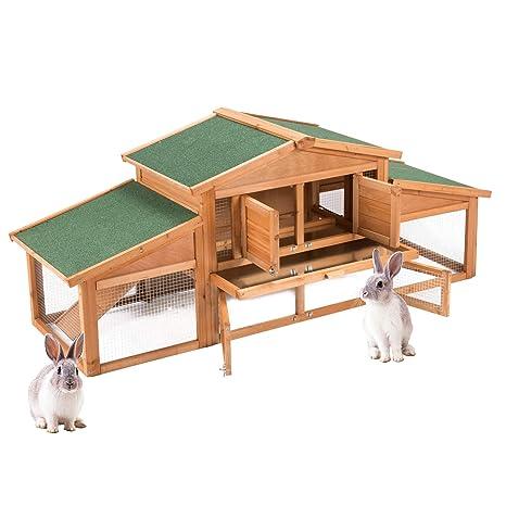 Fithalt Conejera de Mascotas Gallinero Casa para Conejito de Madera de Primera Calidad con Escalera para