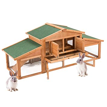 Fithalt Conejera de Mascotas Gallinero Casa para Conejito de Madera de Primera Calidad con Escalera para Animales Pequeños Refugio de Lujo de 2 Planta: ...