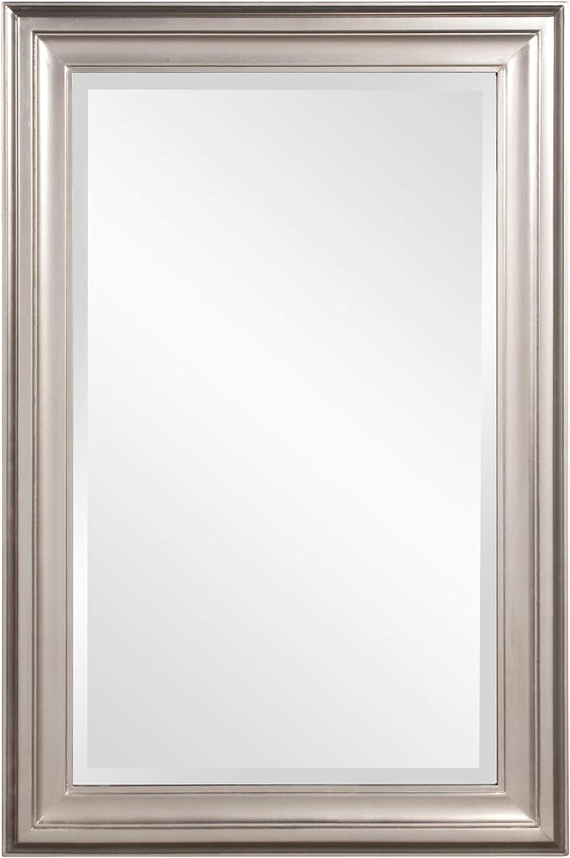 Howard Elliott George Rectangular Wood Framed Wall Vanity Mirror, Bright Silver, 53048