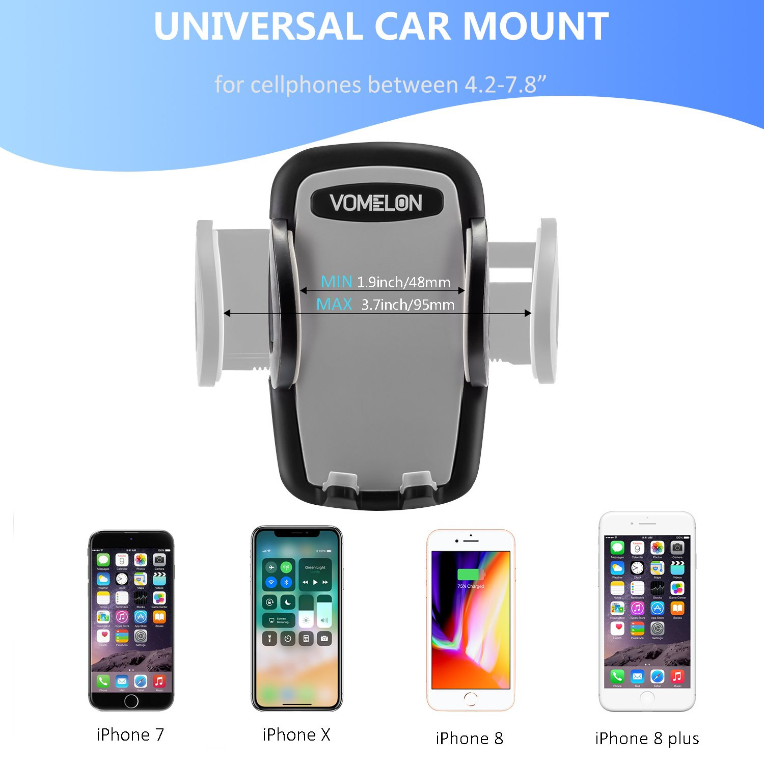 Google Cell Phone Holder for Car Car Mount for iPhone X iPhone 8 8 Plus 7 7 Plus 3-in-1 Car Phone Holder LG Huawei and More Sumsung