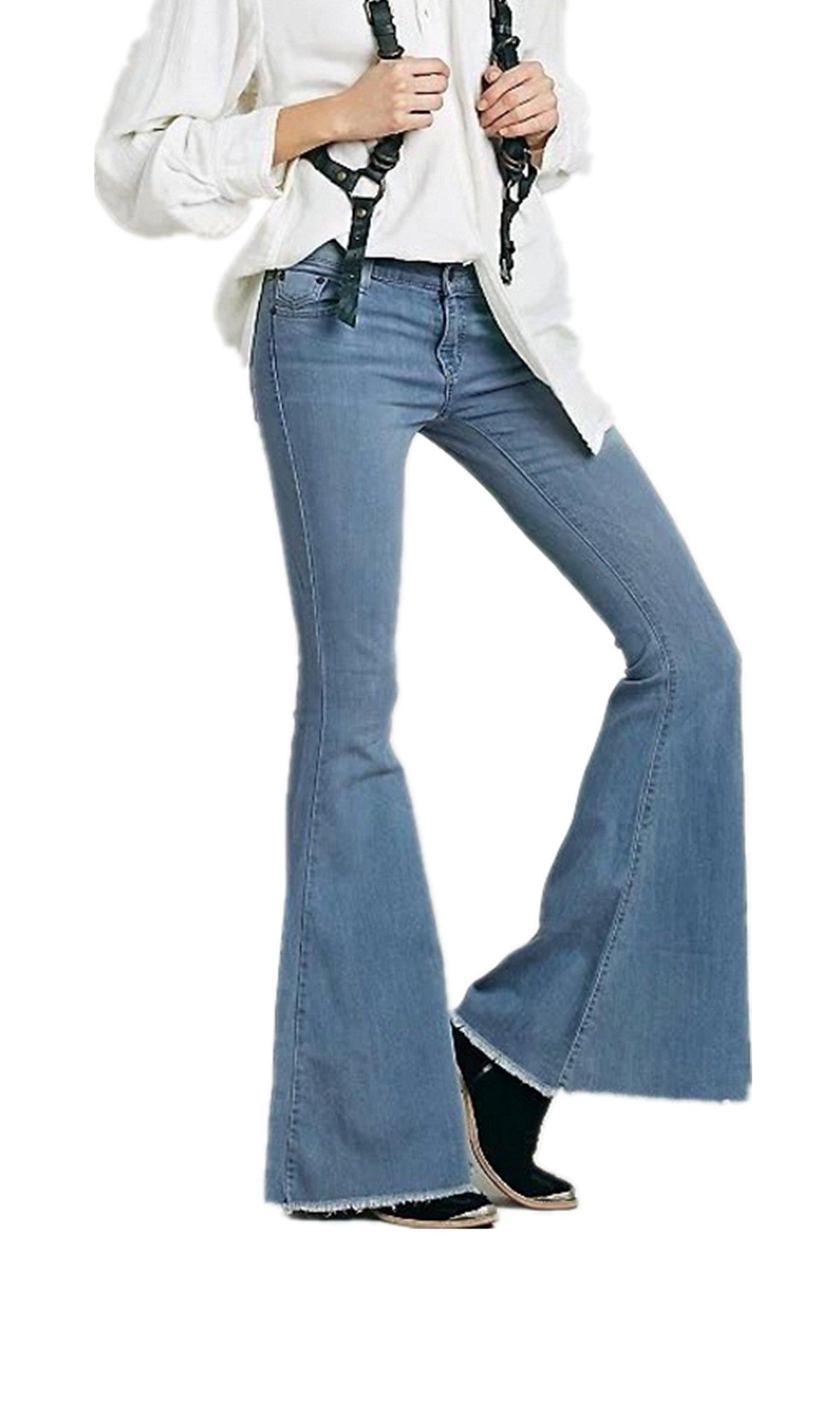 Women's Juniors Bell Bottom High Waisted Fitted Flared Denim Jeans Pants (US 0, Light Blue 1)