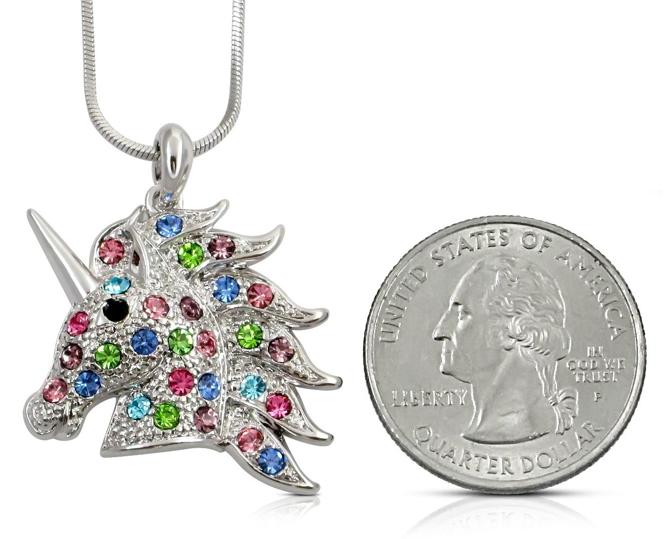 Unicorn Pendant Necklace Jewelry Gift for Girls, Teens, Women, Granddaughters, Sisters, Daughters, Birthday Present (Rainbow) by GLAM (Image #2)