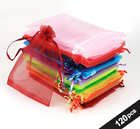 120pcs Bolsas Bolsitas de Organza 10x15cm Absofine Bolsas de Regalo Boda para Joyas Caramelo Dulces Recuerdo Favores Detalles