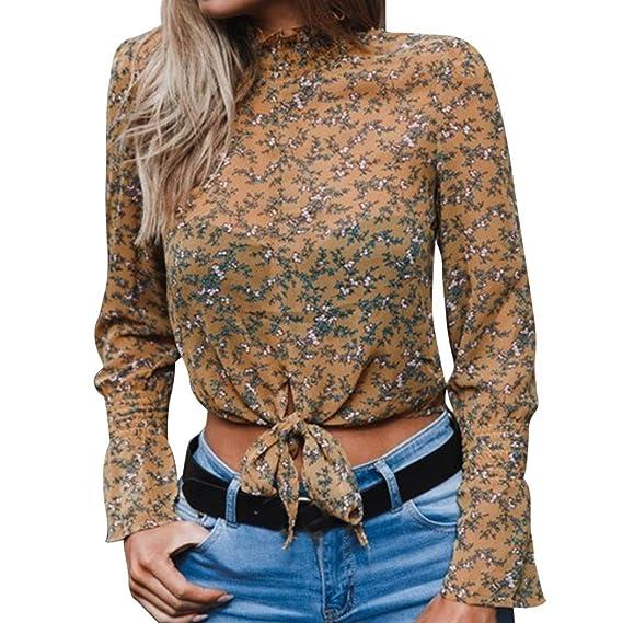 Blusas con Manga Floral de Gasa de Mujer Camisa Corta del Arco Dot Print Tops Blusa Cosecha ❤ Manadlian: Amazon.es: Ropa y accesorios