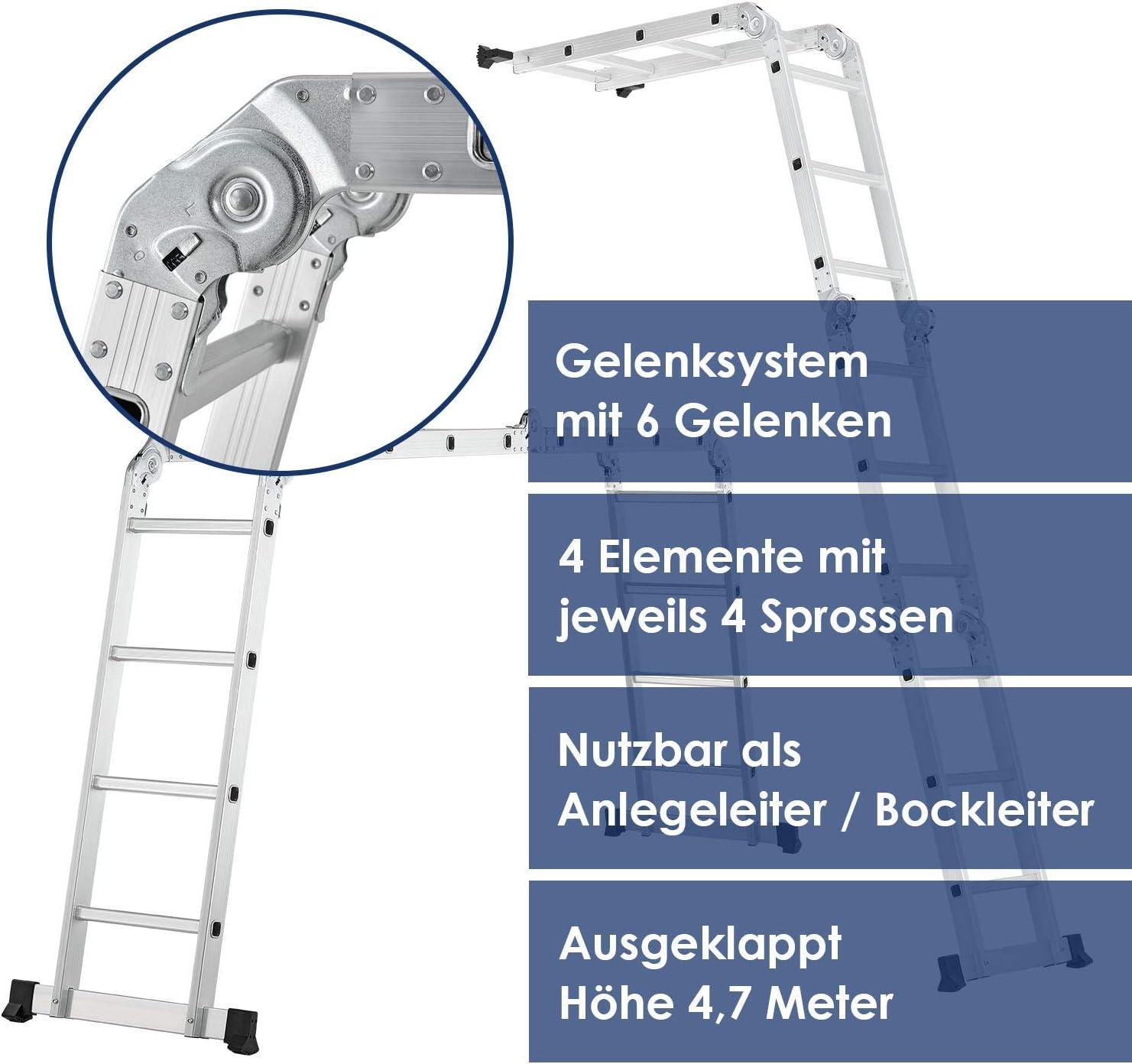 4,7M Aluleiter Mehrzweckleiter 4 x 4 Sprossen Ger/üstleiter Kombileiter Anlegeleiter mit Einer Ger/üstplatten Anlegeleiter Klappleiter Haushaltsleiter Arbeitsleiter bis 150kg belastbar