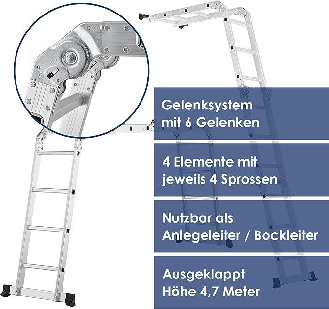 Silber Asina Mehrzweckleiter 4,7M Alu Haushaltsleiter bis 150KG 4x4 Stufen mit 2 Ger/üstplatten Klappbare Ger/üst Leiter Multifunktions Gelenkleiter
