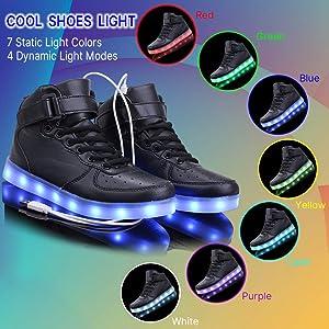 WONZOM High Top LED Light Up Shoes USB