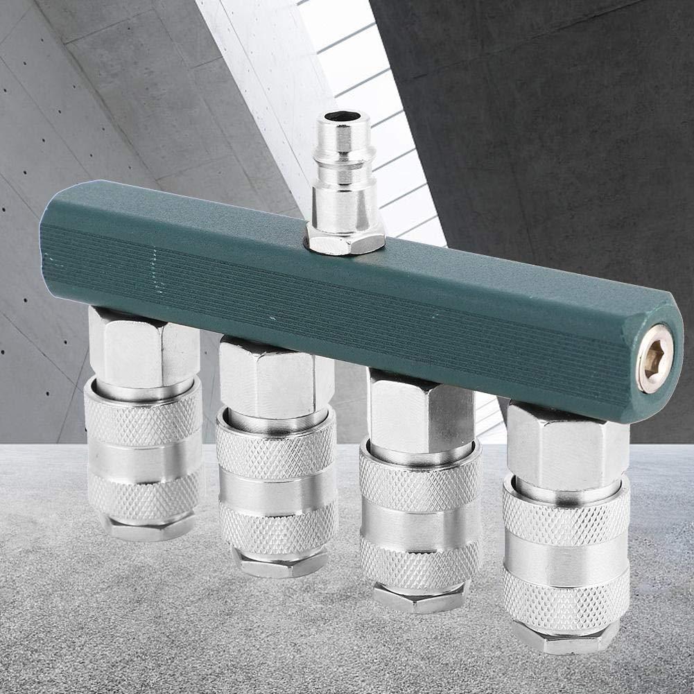 Conector Neum/ático NPT de 1//4 Pulgadas Conector R/ápido de 4 V/ías Conector de Manguera de Aire