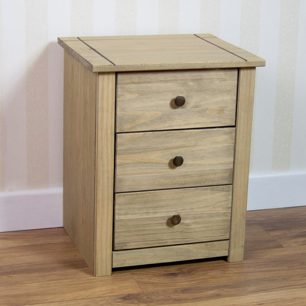 Home Discount Bedside Table Solid Pine 3 Drawer Chest Bedroom Furniture Waxed *Brand New*