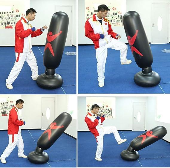 sac de boxe autoportant sac de frappe gonflable sac de cible de karat/é sac de frappe de fitness pour enfants//adultes /équipement de taekwondo KUNANG Colonne de boxe gonflable verticale