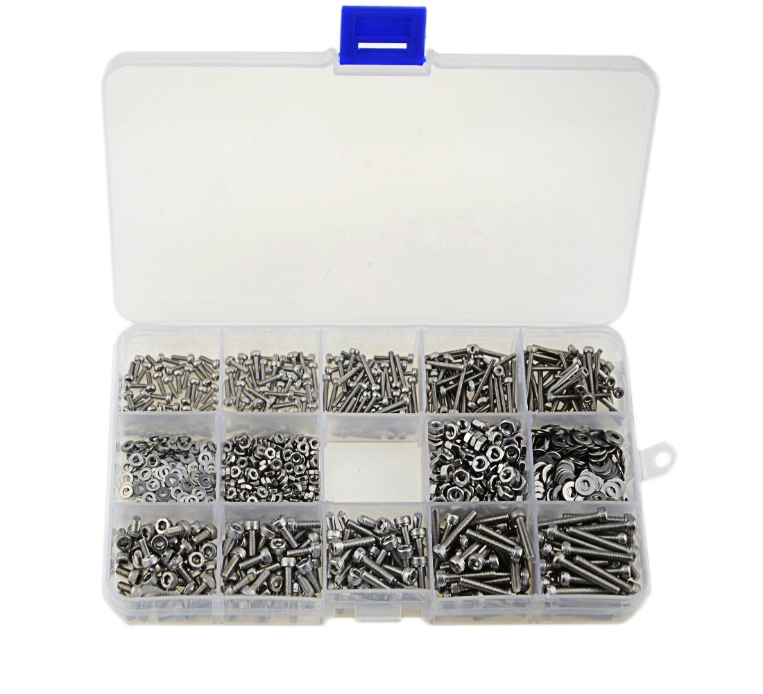 XLX 1200Pcs M2/M3 Stainless Steel Hex Socket Head Cap Screws Nuts Assortment Kit with Box (304 Stainless Steel)