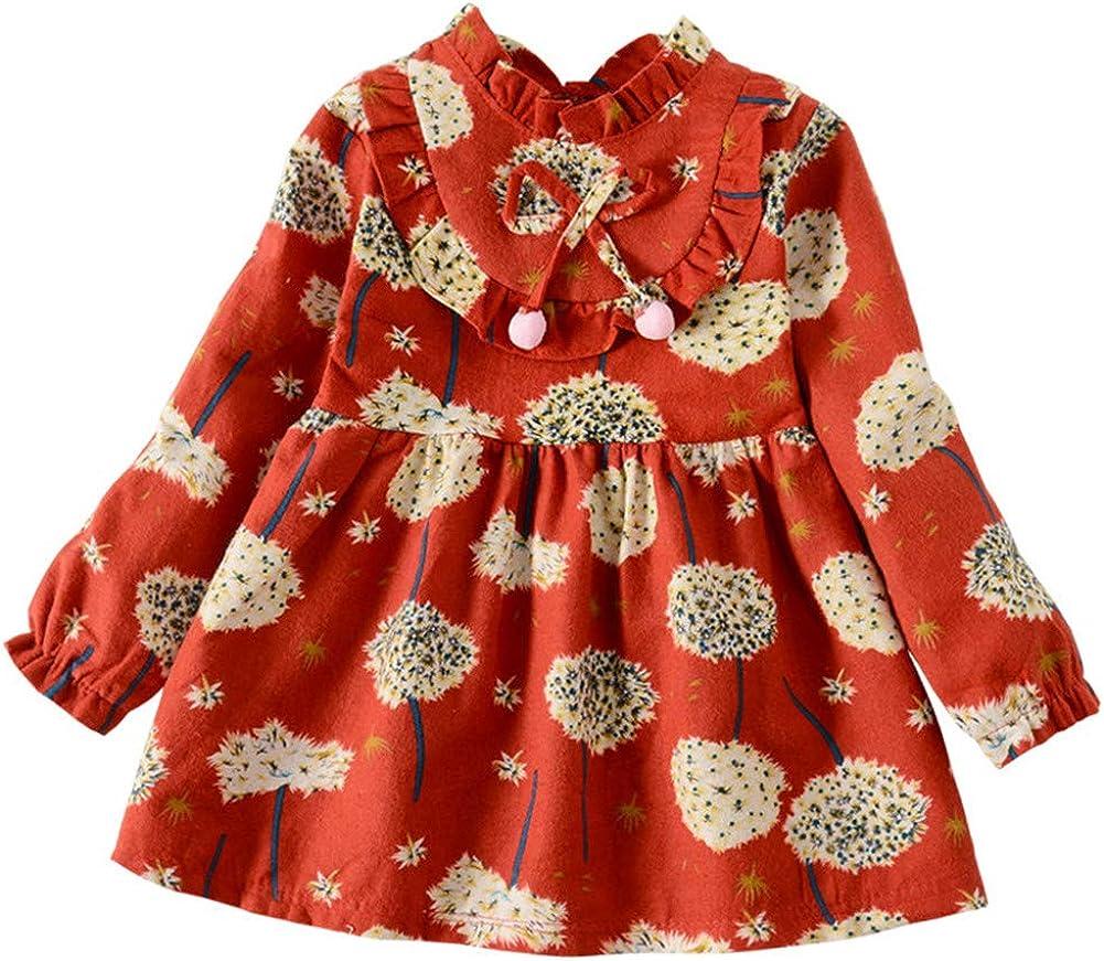 BOBORA Baby Girls Long Sleeve Ruffled Cotton Bowknots Princess Dresses 0-4Years Old
