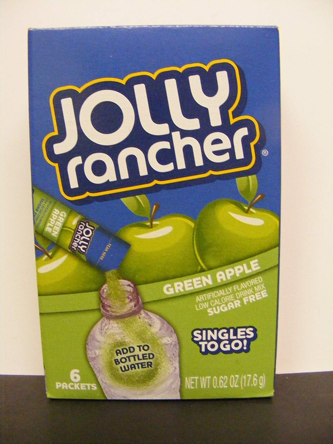 1 (6-ct.) Box JOLLY RANCHER ~ GREEN APPLE Singles to Go! Sugar Free Drink Mix.