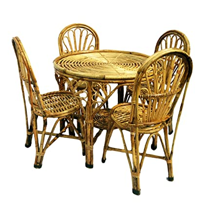 H M Services Wooden Handicraft Cane 1 Table 4 Chairs