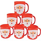 Santa Face Mugs for Christmas (set of 12 plastic cups) Holiday Party Supplies
