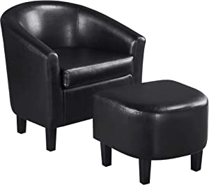 Topeakmart Contemporary Faux Leather Club Chair for Living Room Barrel Chair with Ottoman Tub Chair and Footrest Set for Living Room Guestroom Black