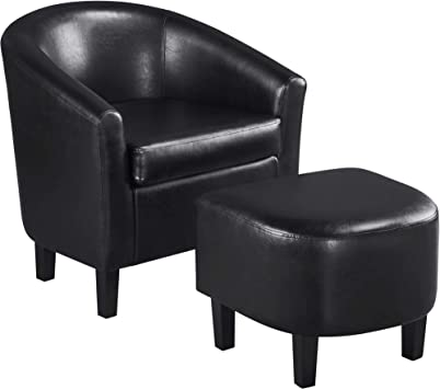 Luxury High Wing Back Upholstered Armchair Lounge Tub Chair Sofa with Footstool