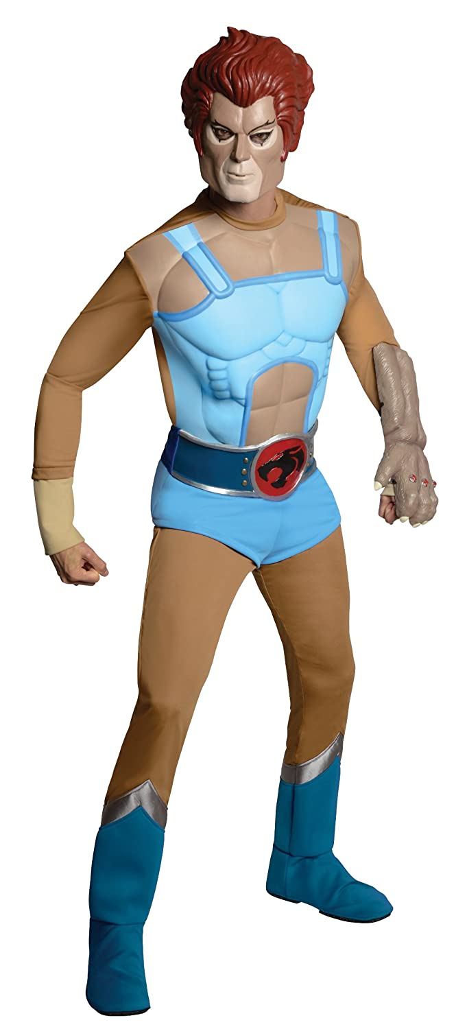 Rubie's Deluxe Lion o Fancy Dress (Standard). Rubie's muscle chest jumpsuit is the base for this exciting thundercats lion-o costume. Includes rubber jumpsuit, mask, hand, and belt.