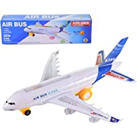 WISHKEY Battery Operated Airplane with Attractive Flashing Lights & Realistic Engine Sound,Bump & Go Action Air Bus Toy(Blue)
