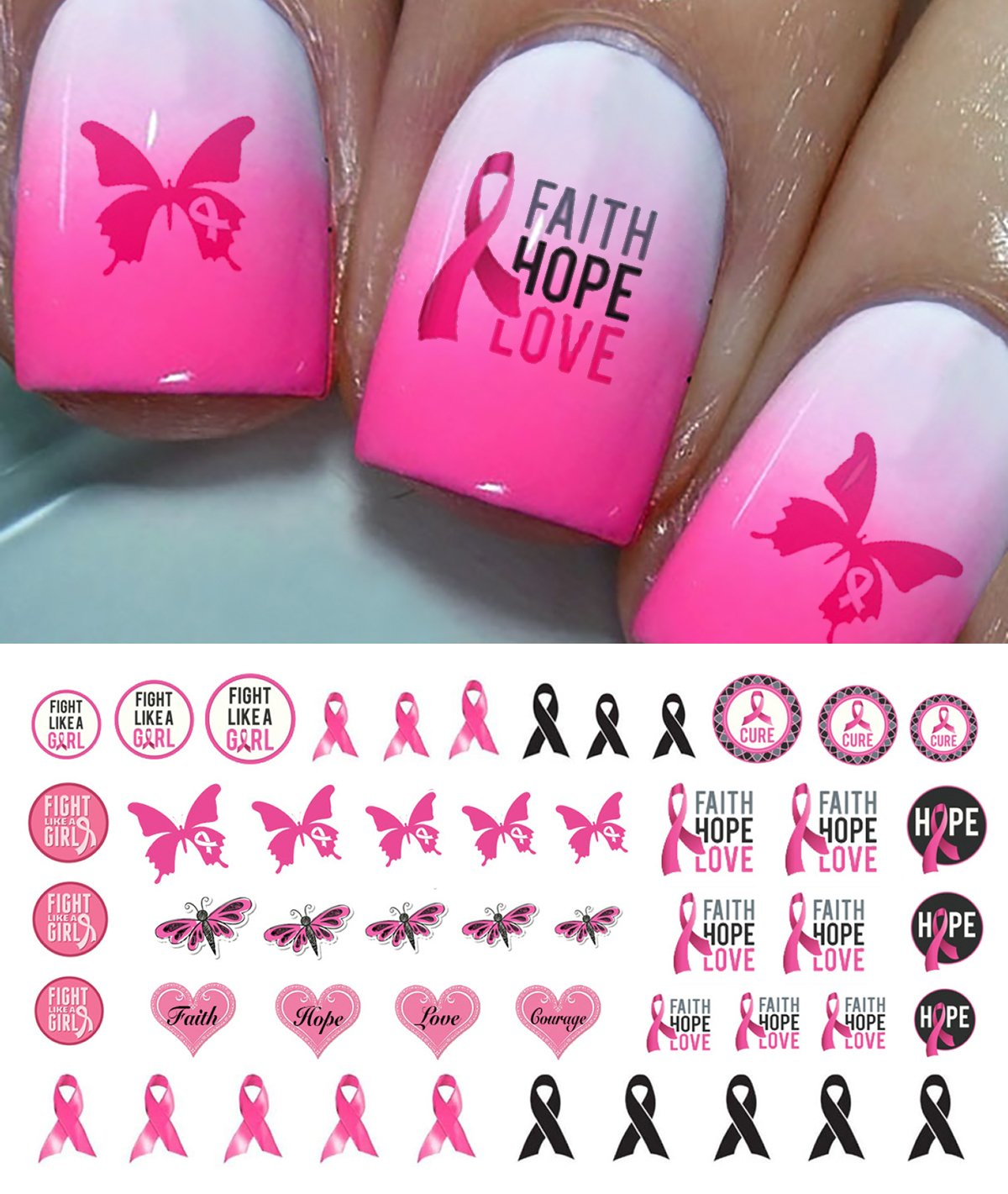Amazon.com : Cherish Nail Decals Breast Cancer Pink Ribbon 2 Sheets ...