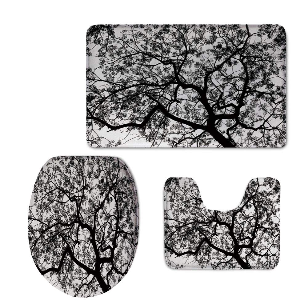 Fashion 3D Baseball Printed,Apartment Decor,Forest Tree Branches Modern Decor Spooky Horror Movie Themed Print,Black and White,U-Shaped Toilet Mat+Area Rug+Toilet Lid Covers 3PCS/Set