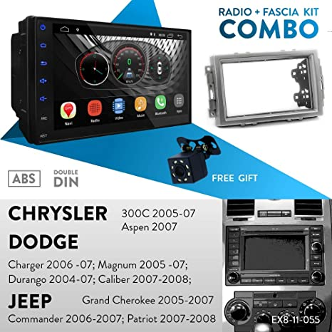 Dodge Charger 2006-07; Magnum 2005-07; Durango 2004-07; Caliber 2007-2008 Jeep Grand Cherokee UGAR EX8 7 Android 8.1 Car Stereo Radio Plus 11-055 Fascia Kit for Chrysler 300C 2005-07; Aspen 2007