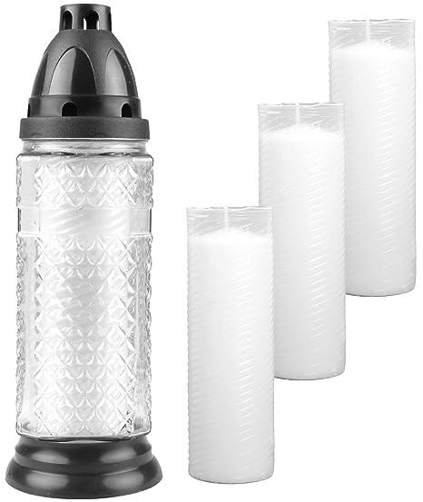 HS Candle - Lámpara para Tumba (Cristal Estructurado, 27 cm, Incluye 4 Velas