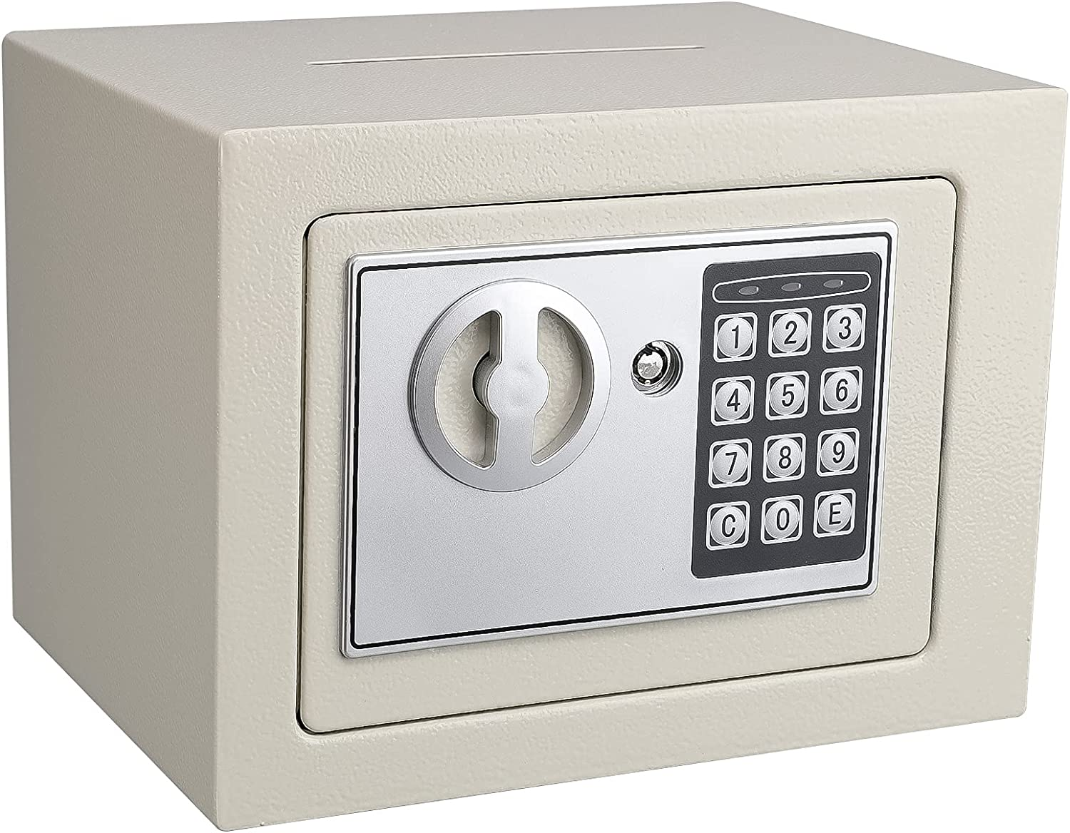 KYODOLED Mini Small Safe Box for Home Office,Electronic Personal Safe Box with Keypad and Slot,Digital Security Steel Cabinet Safe for Hotel Business,Office,0.23 Cubic Feet White