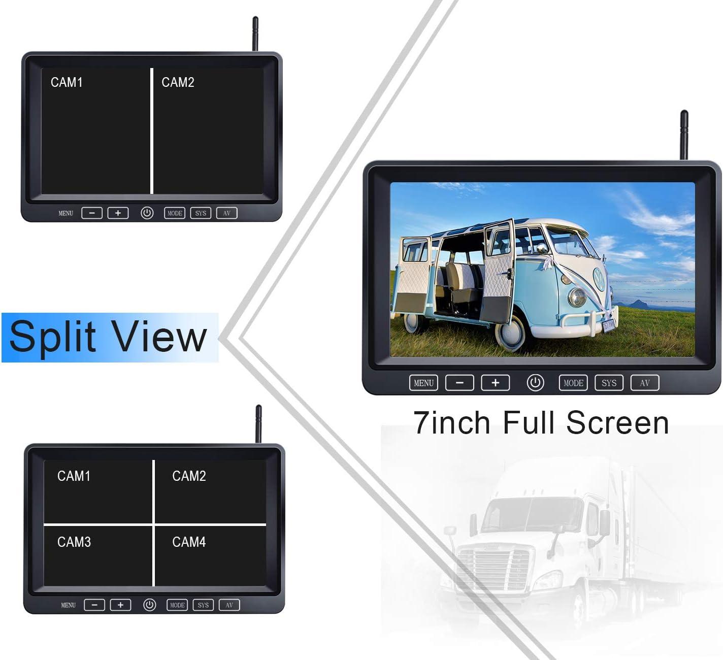 7/'/' DVR Split Monitor with Touch Button for RV//Truck//Trailer//Bus//Pickup//Van-B3C ZEROXCLUB Digital Wireless Backup Camera System Kit,HD 1080P /& IP69 Waterproof Wireless Reverse Rear Side View Camera