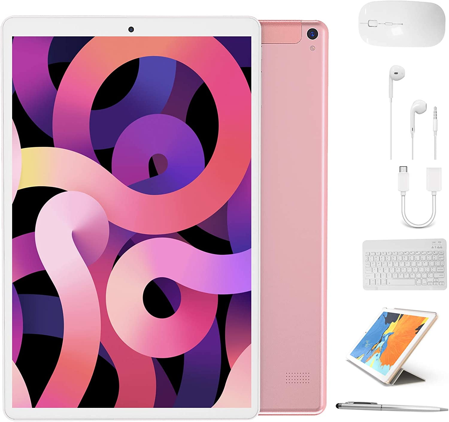 Tablet 10 inch, High Performance 2 in 1 Android 9.0 Tablets with Keyboard Case & Mouse, 3GB RAM 64GB Storage, Quad Core, Dual Sim Card, 4G WiFi, 8MP Camera, 8000 mAh, FM, GPS, Bluetooth - Pink