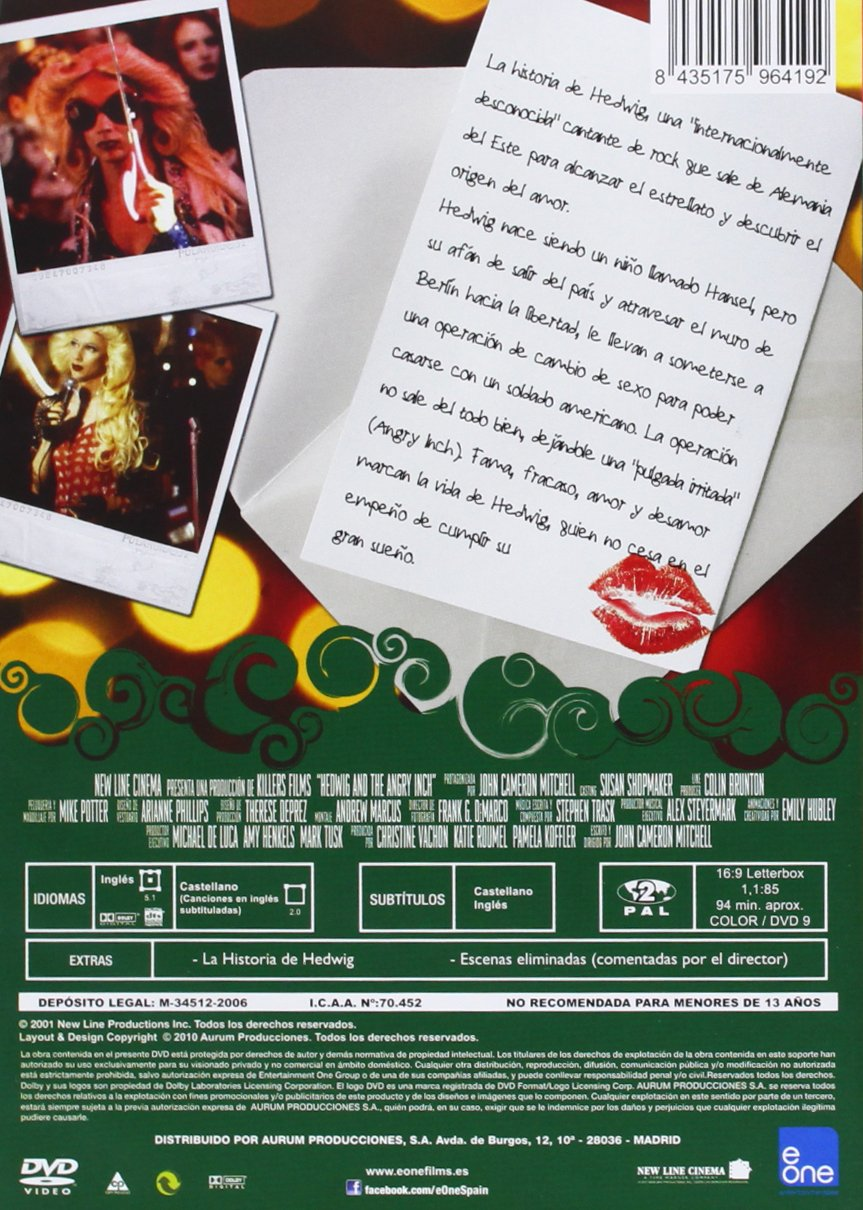 Hedwig The Angry Inch [DVD]: Amazon.es: John Cameron Mitchell ...