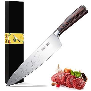 GEEKHOM Cuchillo de Cocina, Cuchillo de Cocinero Profesional Japones, Acero Inoxidable, Mango Ergonómico y Cómodo para Vegetales, Frutas, Carne, 21cm ...