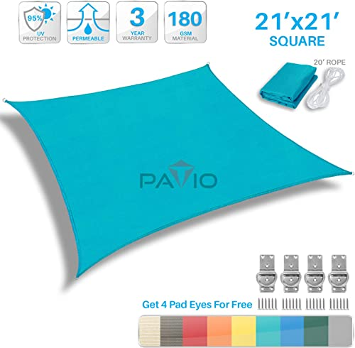 Patio Paradise 21' x 21' FT Solid Turquoise Green Sun Shade Sail Square Square Canopy