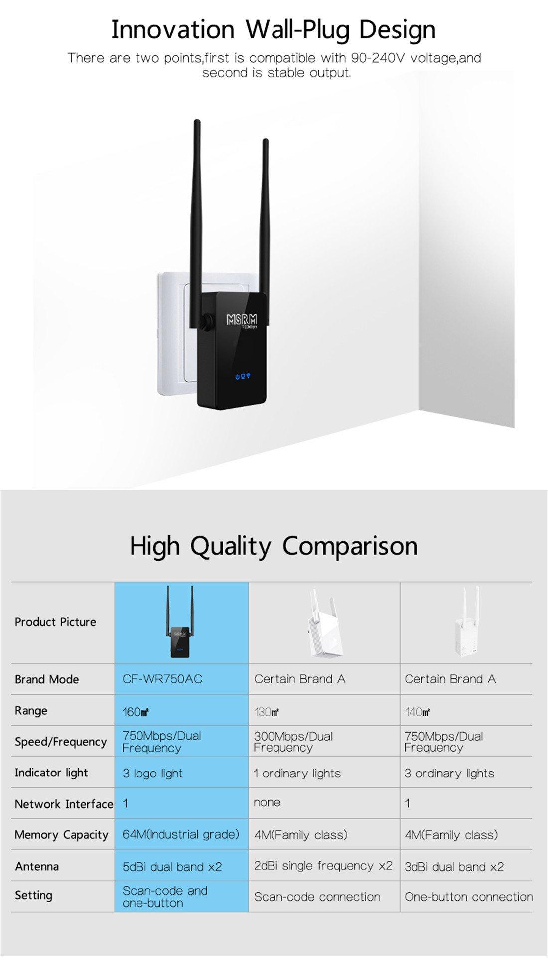 MSRM US750 750Mbps Long WiFi Range Extender 360 Degree Full Coverage High Power Dual Band Range Extender (Black) by MSRMUS (Image #6)