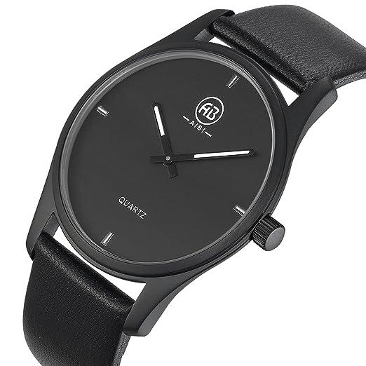 Aibi - Reloj de pulsera para hombre, impermeable, esfera de color negro, formal, con correa de cuero: AIBI: Amazon.es: Relojes