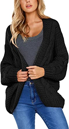 Dokotoo Womens Open Front Long Sleeve Chunky Knit Cardigan Sweater S XXL