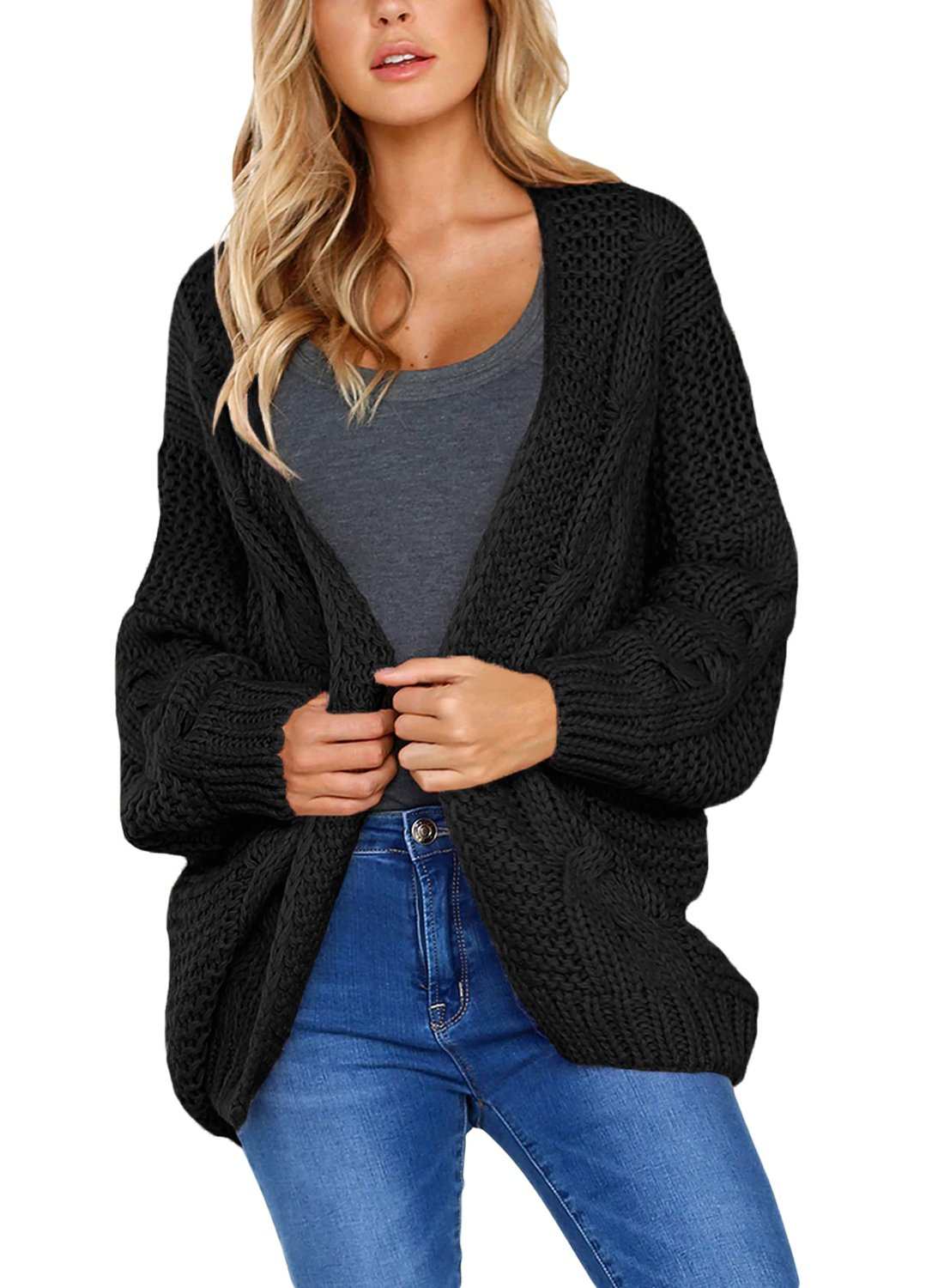 Dokotoo Womens Sweater Cardigans Fashion Ladies Winter Warm Cozy Open Front Long Sleeve Chunky Thin Cable Knit Cardigan Sweater Pullover Outwear Coat Black Medium by Dokotoo