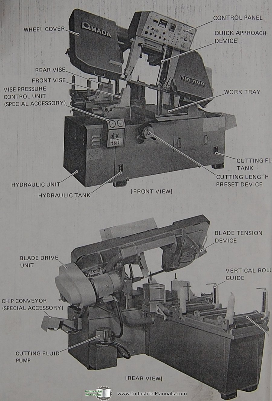 Amada HA-400, Horizontal Band Saw, Operations and Parts List Manual: Amada:  Amazon.com: Books