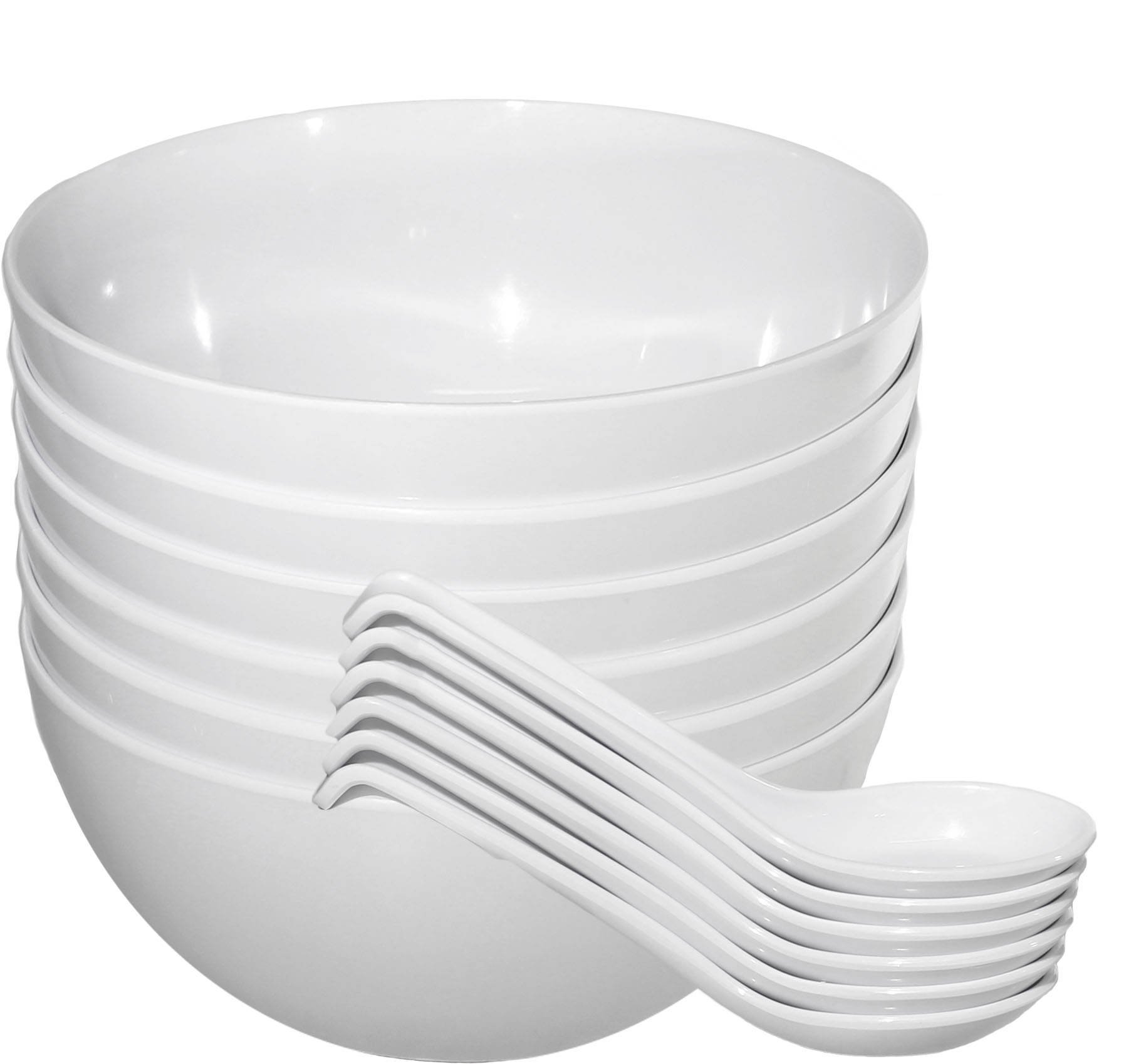 Chef Miso Set of 6 Extra Large Melamine Pho Bowls and Spoons - White 48 Ounce