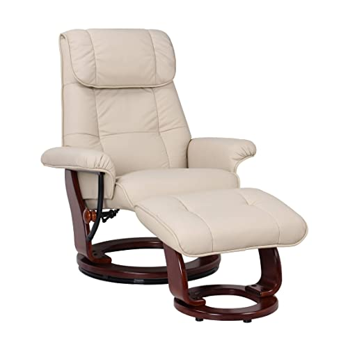 Coja by Sofa4life Leather Recliner and Ottoman, Taupe