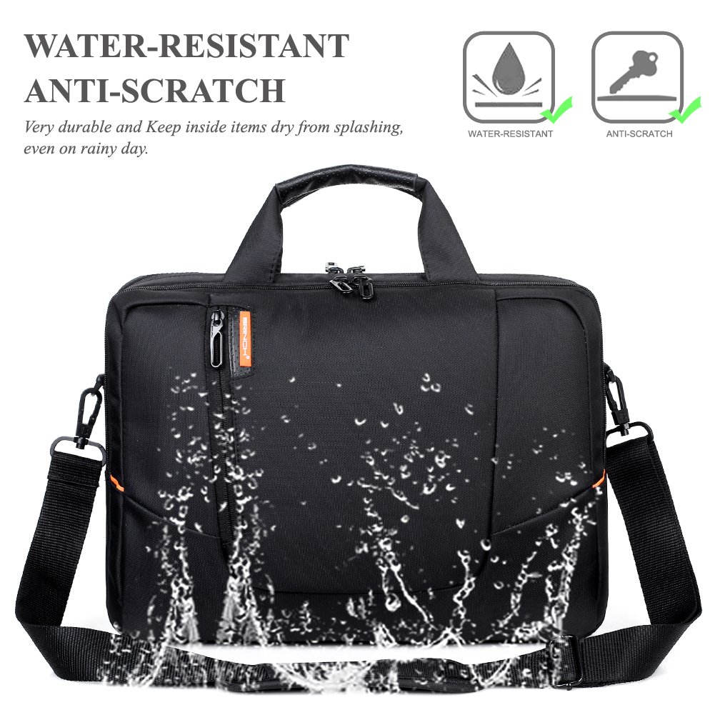 BRINCH 17.3 inch Stylish Large Capacity Water Resistant Shockproof Laptop Case Briefcase Shoulder Messenger Bag with Strap for 17-17.3 inch Laptop/MacBook / Notebook/Chromebook Computers,Black