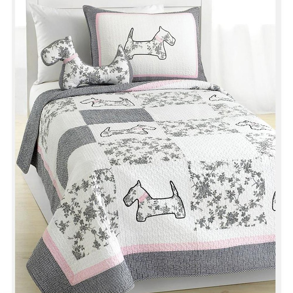 Cozy Line Pup Dog Animal Print 2 Pcs Twin Quilt Set, Gray and Pink Plaid