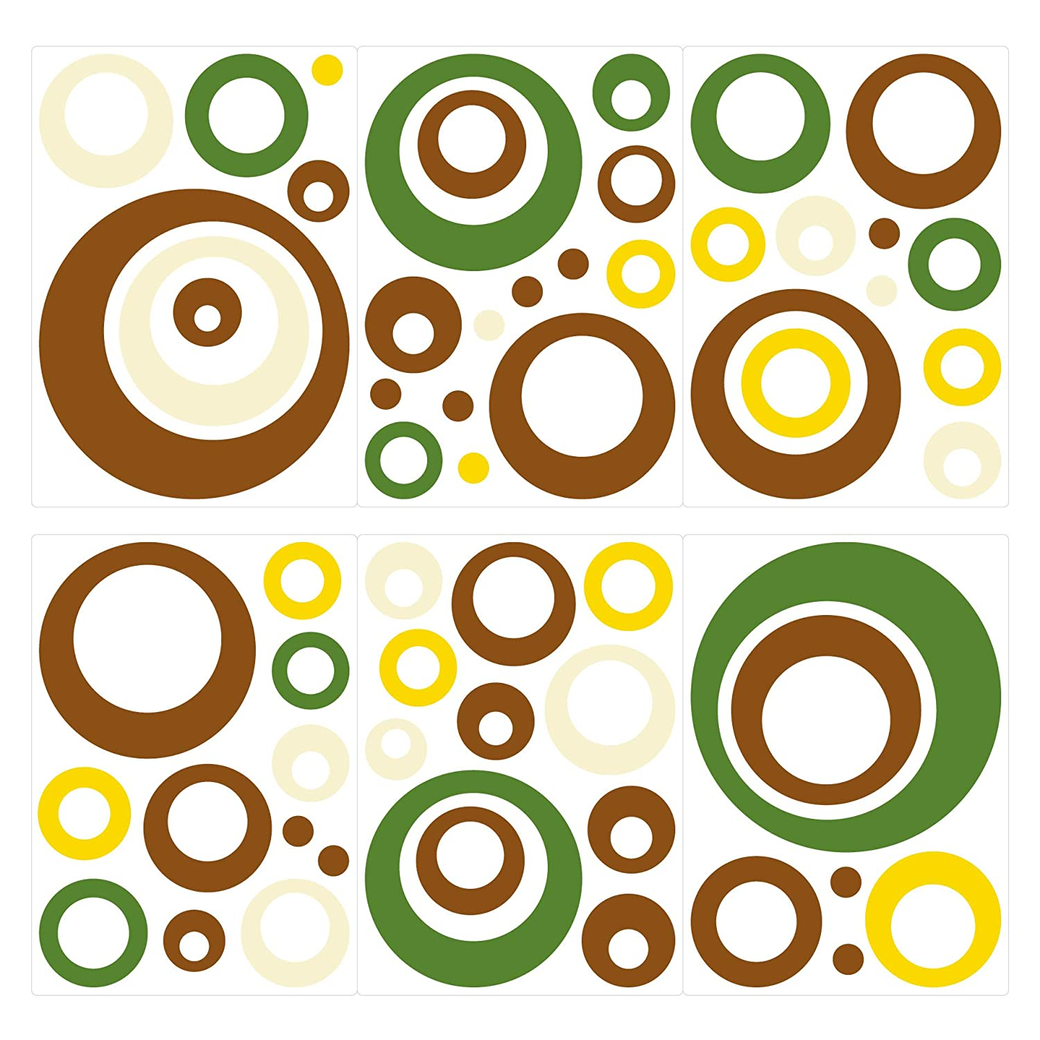 brown and yellow 60 pieces sticker Wall decal boy girl I-love-Wandtattoo WAS-10157 Wall stickers Retro dots in green