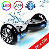 "TOMOLOO Self-Balancing Scooter UL2272 Certified 6.5"" Wheel Hoverboard with RGB Lights Bluetooth Speaker Customizable App Black"