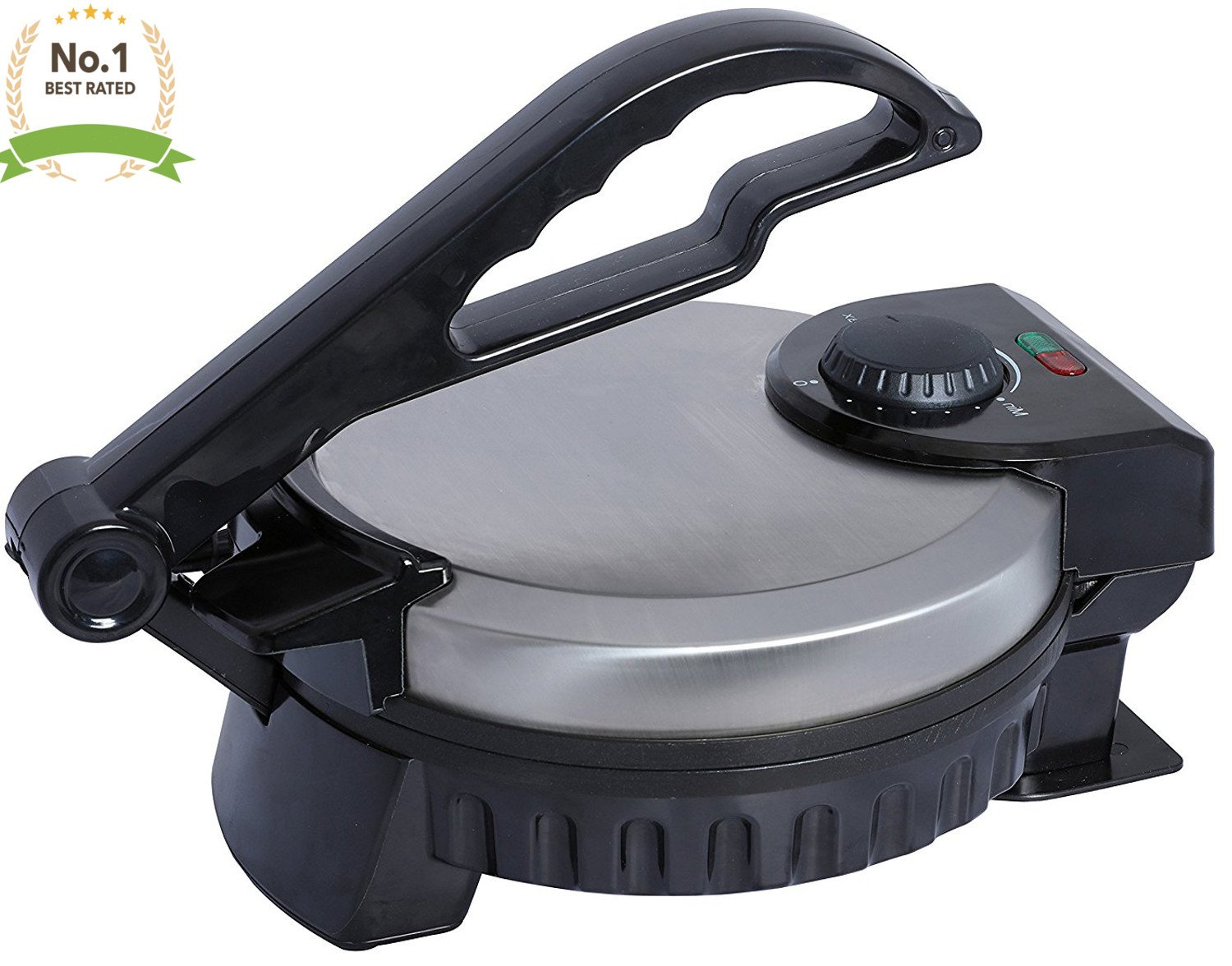 Professional Non Stick Electric Tortilla Maker Temperature Control Stainless Steel Finish With Cool Touch handle for flower tortillas corn tortillas, sugar pancakes (gorditas) 8'' Cooking Surface