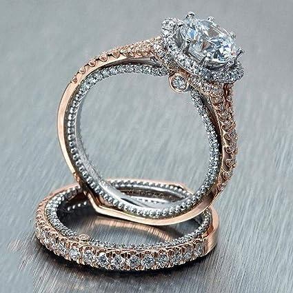 2Pcs White Topaz Vintage Rose Gold Filled Women Wedding Engagement Ring  Morganite Wedding Engagement Ring Set 4609f2ca7b40