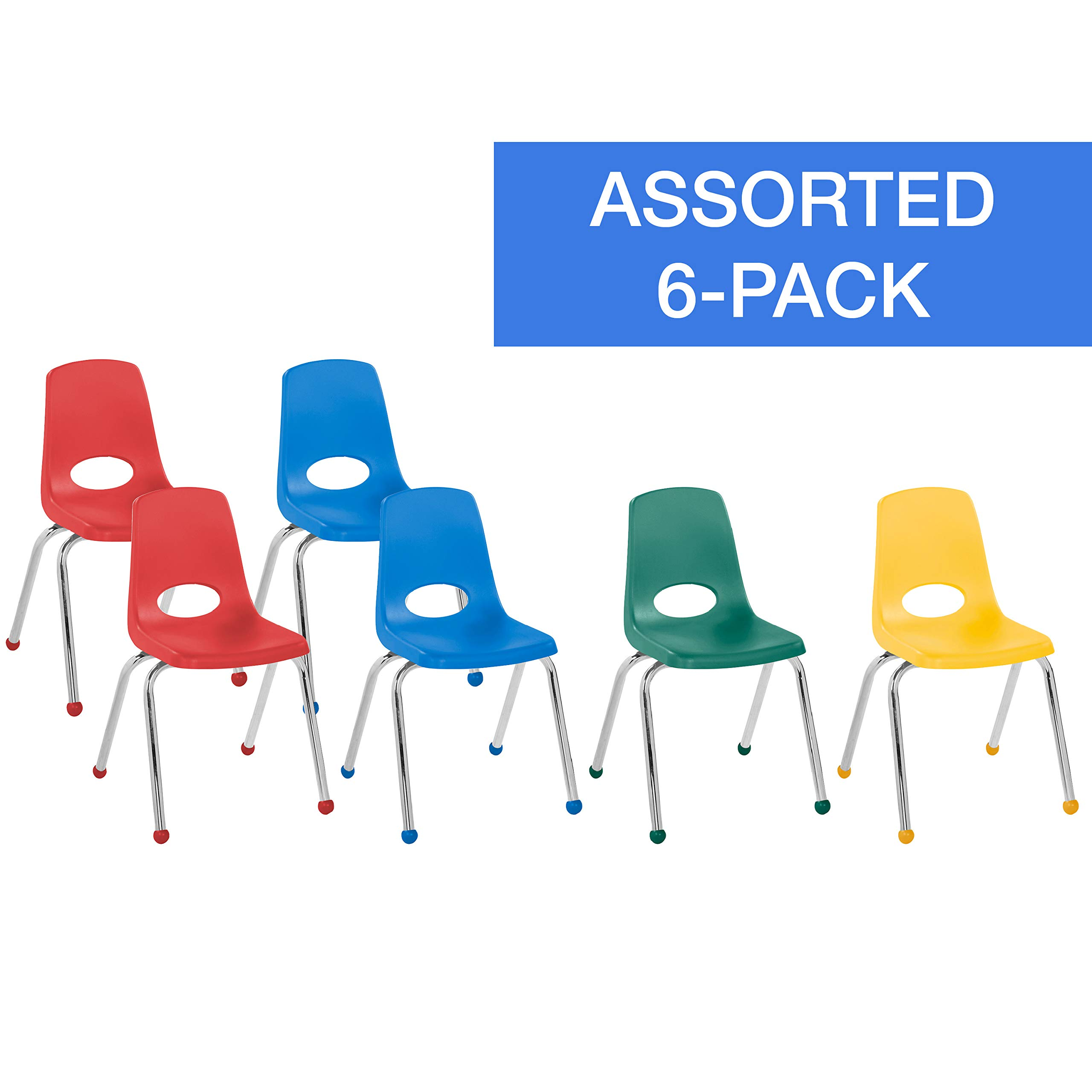 FDP 16'' School Stack Chair, Stacking Student Chairs with Chromed Steel Legs and Ball Glides - Assorted Colors (6-Pack) by Factory Direct Partners