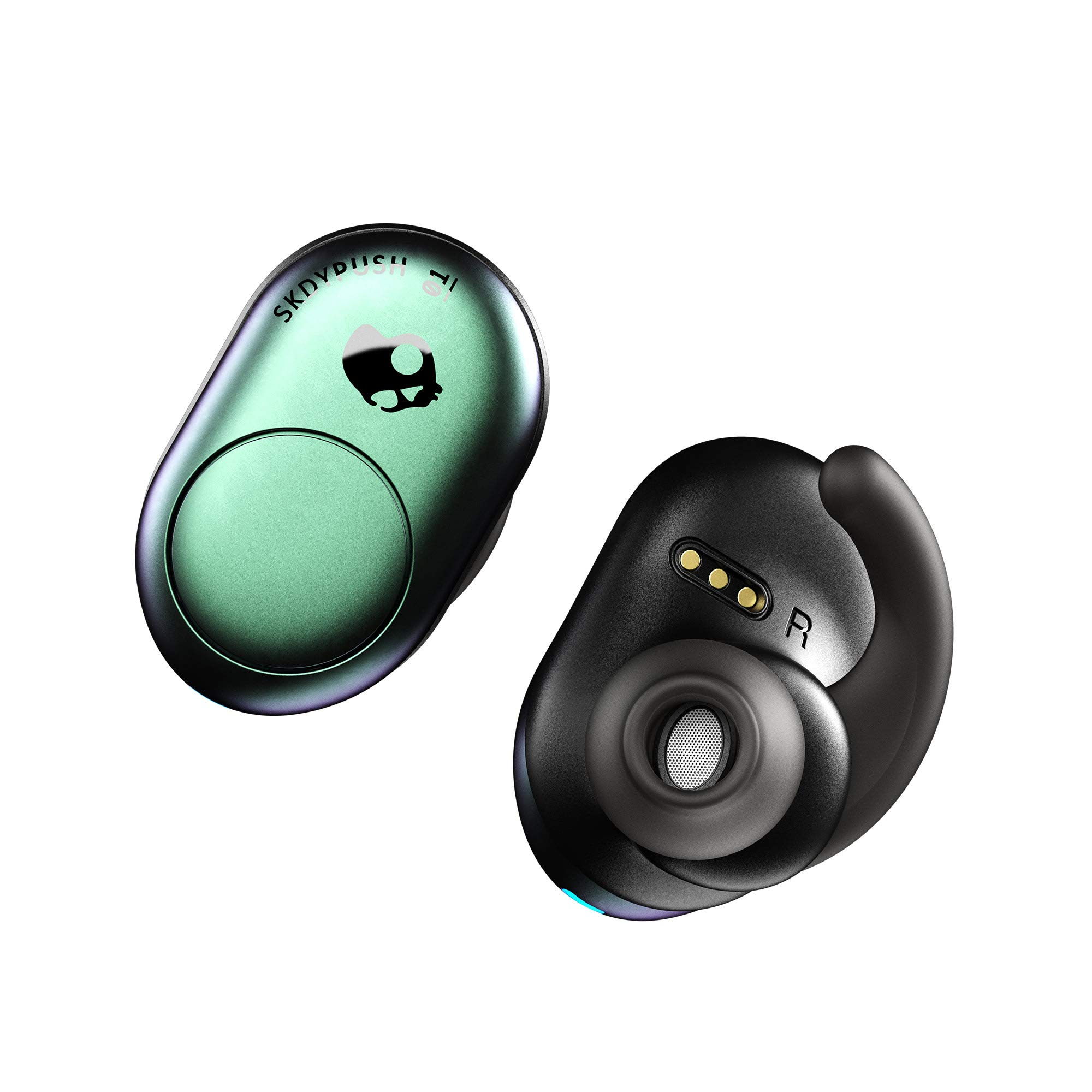 Skullcandy Push True Wireless Earbuds, in-Ear Bluetooth with Microphone, 33ft Range, 12-Hour Battery Life with Charging Case, Silicone Fit Fins for Secure Fit